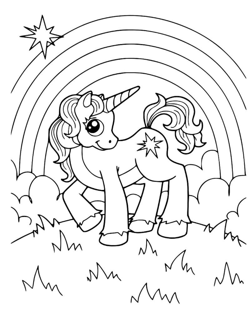 cute kawaii printable unicorn coloring pages with rainbow