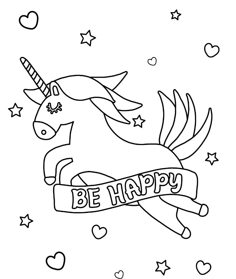 cute unicorn coloring pages be happy