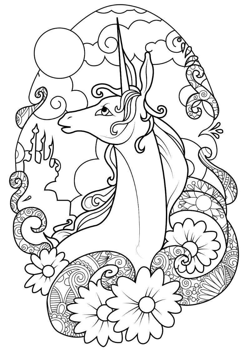 flowers around unicorn coloring pages