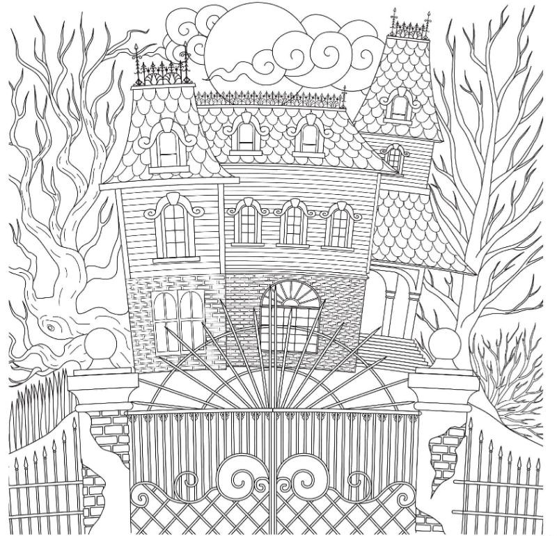 free halloween coloring pages spooky house