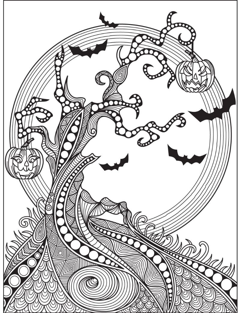 free halloween printables for adults spooky tree