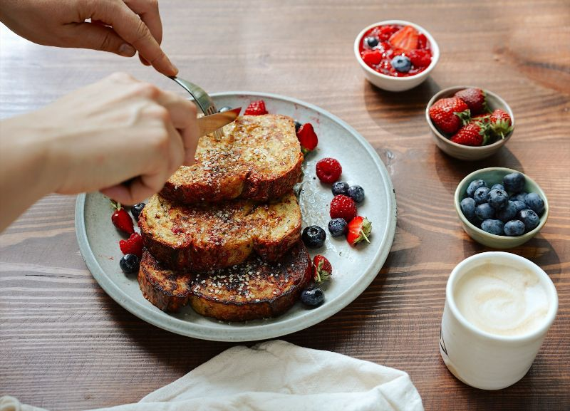 french toast diy oat milk with berries