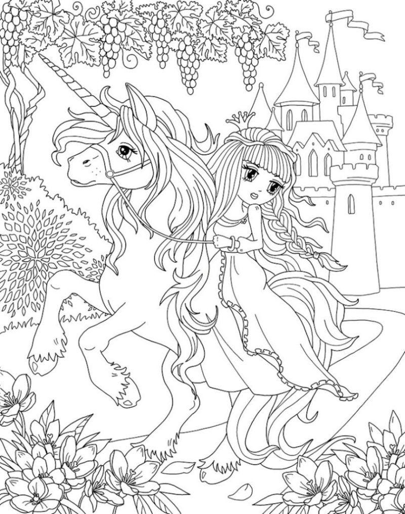 girl riding unicorn coloring sheets castle