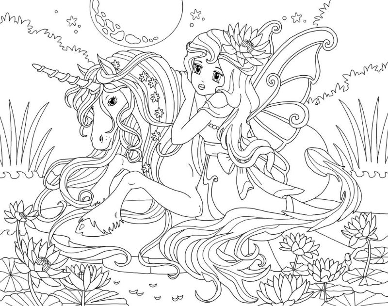 girl riding unicorn coloring sheets field