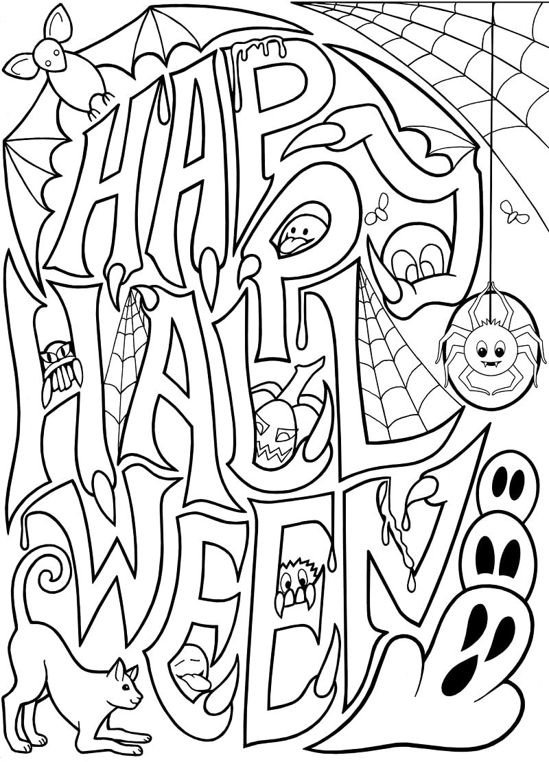 halloween coloring pages ghosts spiders pumpkins