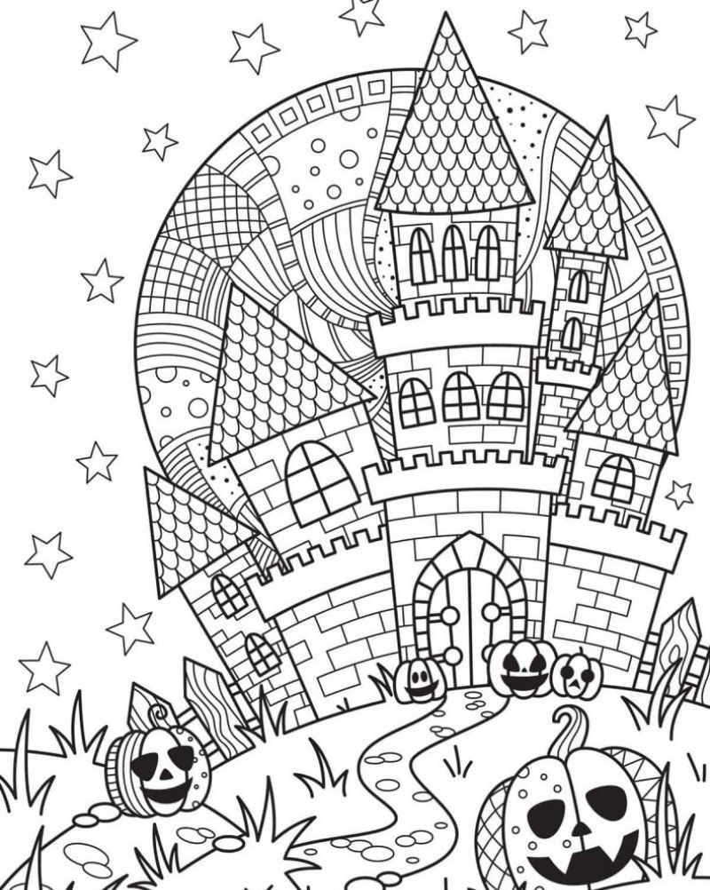 haunted house halloween coloring sheets for adults