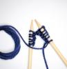 how to start knitting blue yarn