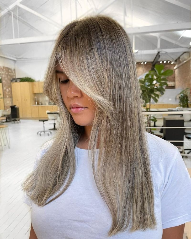 how to style curtain bangs long blonde hair