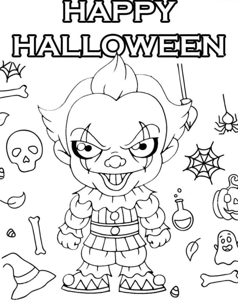 it character free halloween coloring pages