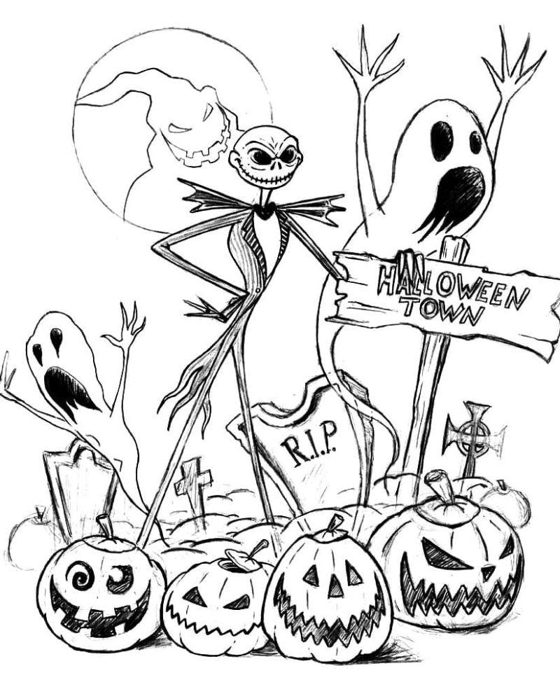 jack skellington free halloween coloring pages nightmare before christmas