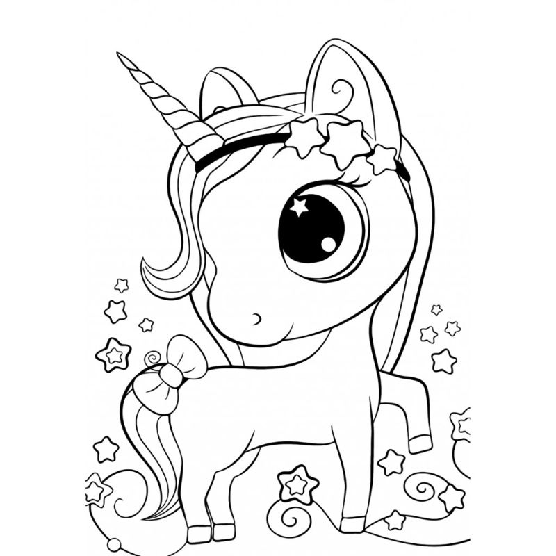 kawaii unicorn coloring pages black and white