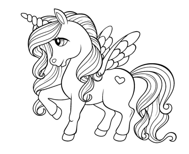 kawaii unicorn rainbow coloring pages drawing