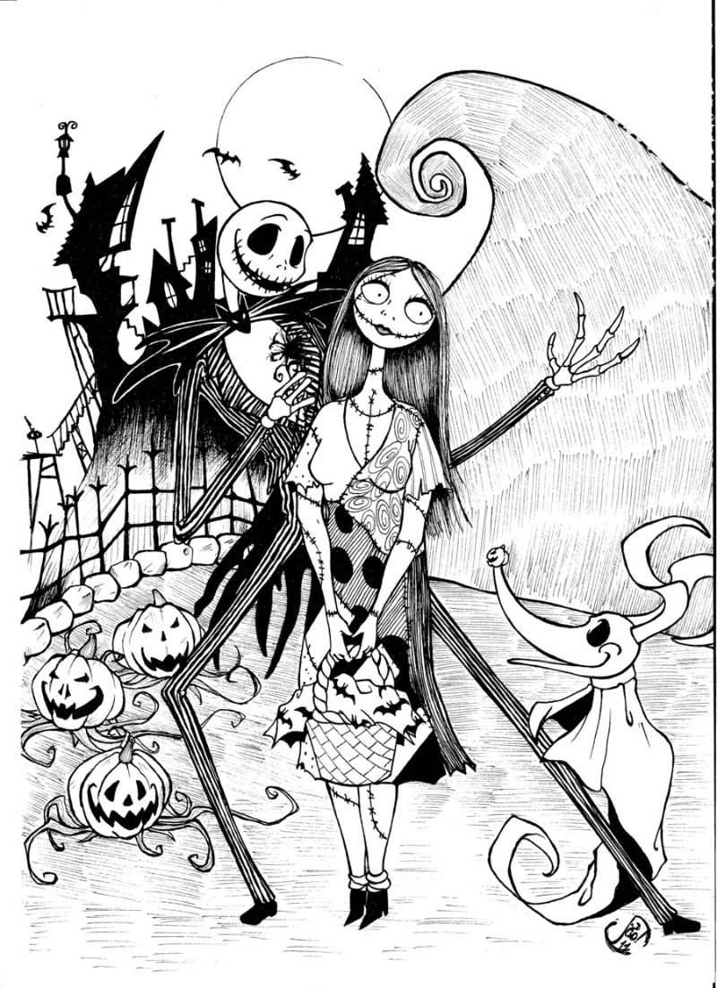 nightmare before christmas halloween coloring pages
