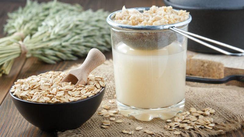 oats in bowl diy oat milk in glass