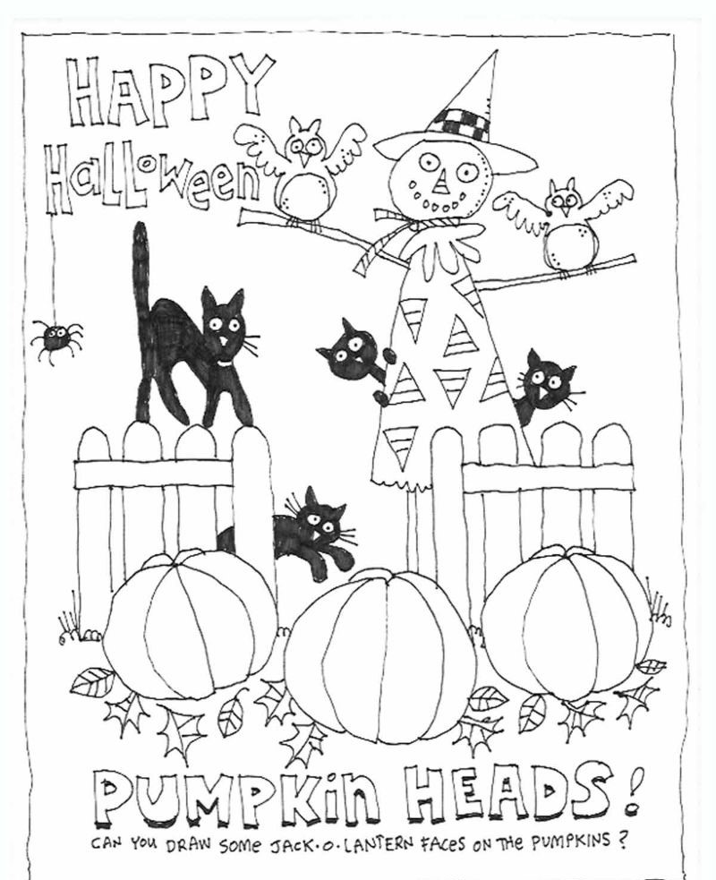 pumpkin patch halloween coloring pages scarecrow