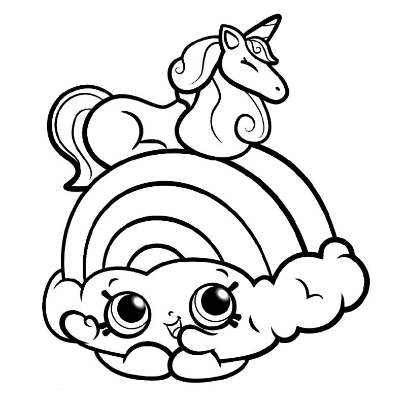 rainbow with cloud unicorn pictures to color