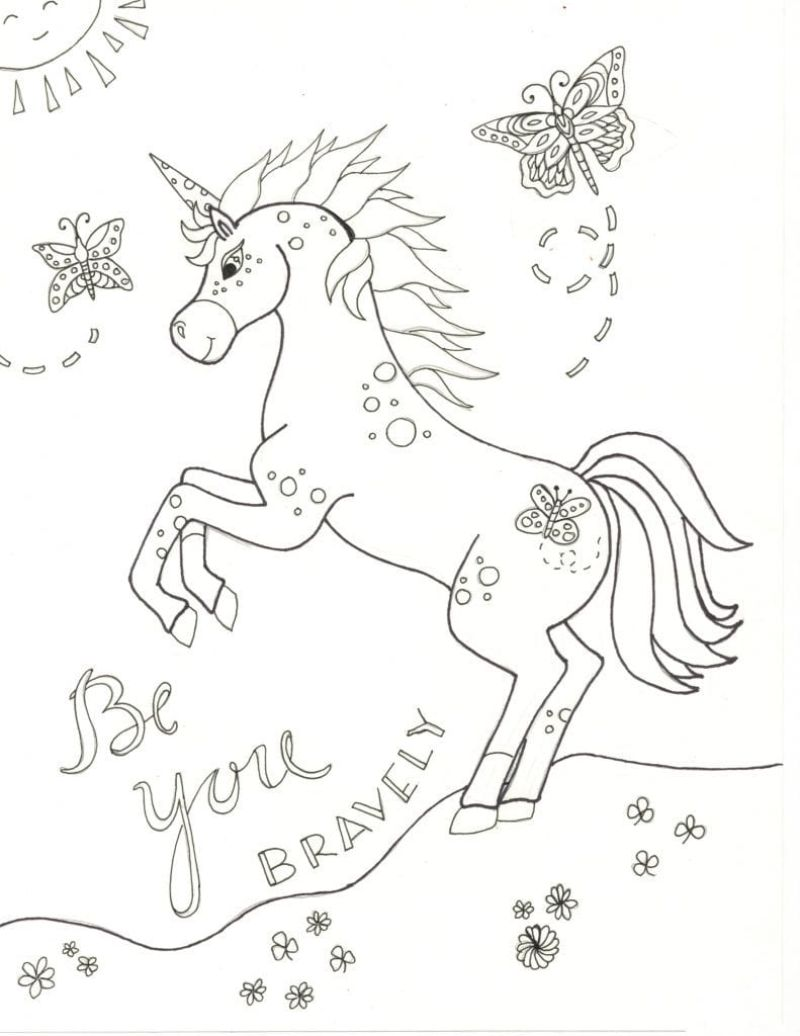 standing unicorn cute unicorn coloring pages