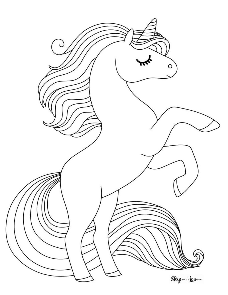 standing unicorn with rainbow unicorn pictures to color