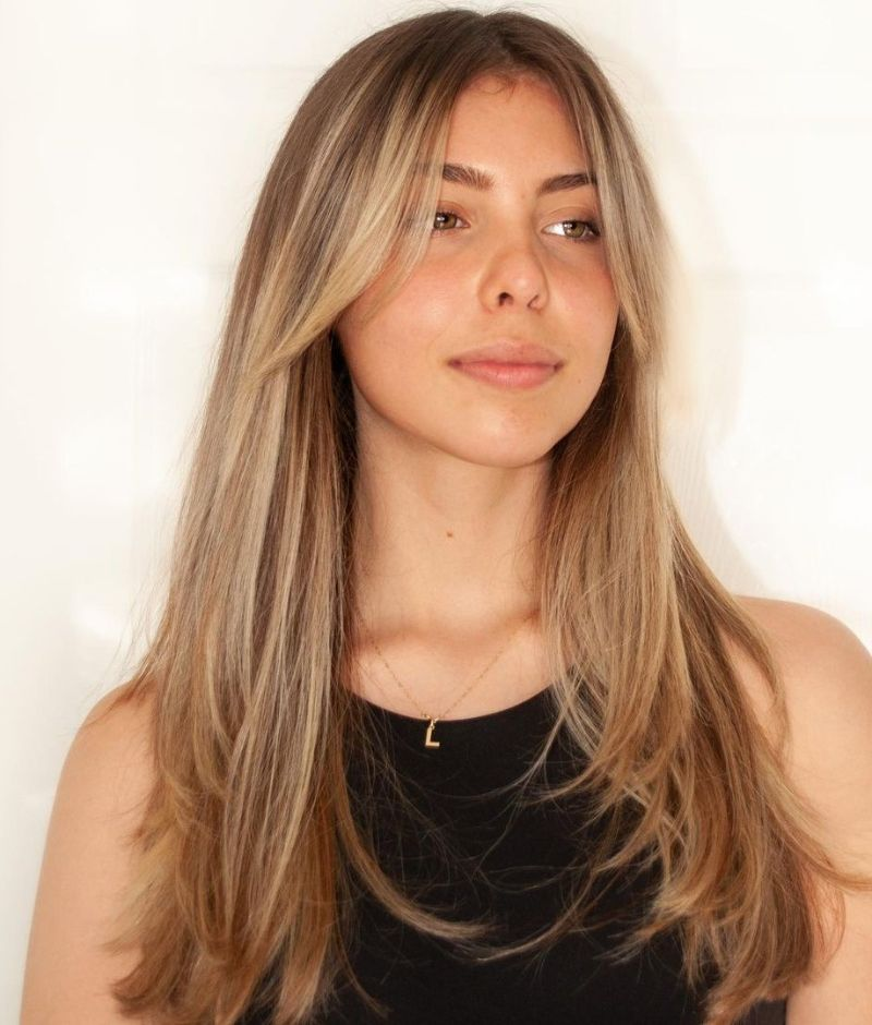straight blonde hair with curtain bangs