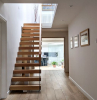 straight staircase types of stairs metal railing