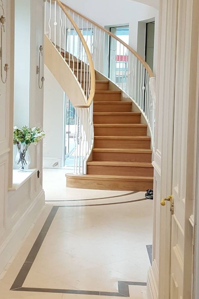 types of stairs curved wooden staircase
