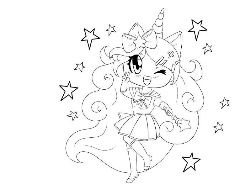 unicorn coloring pages kawaii drawin