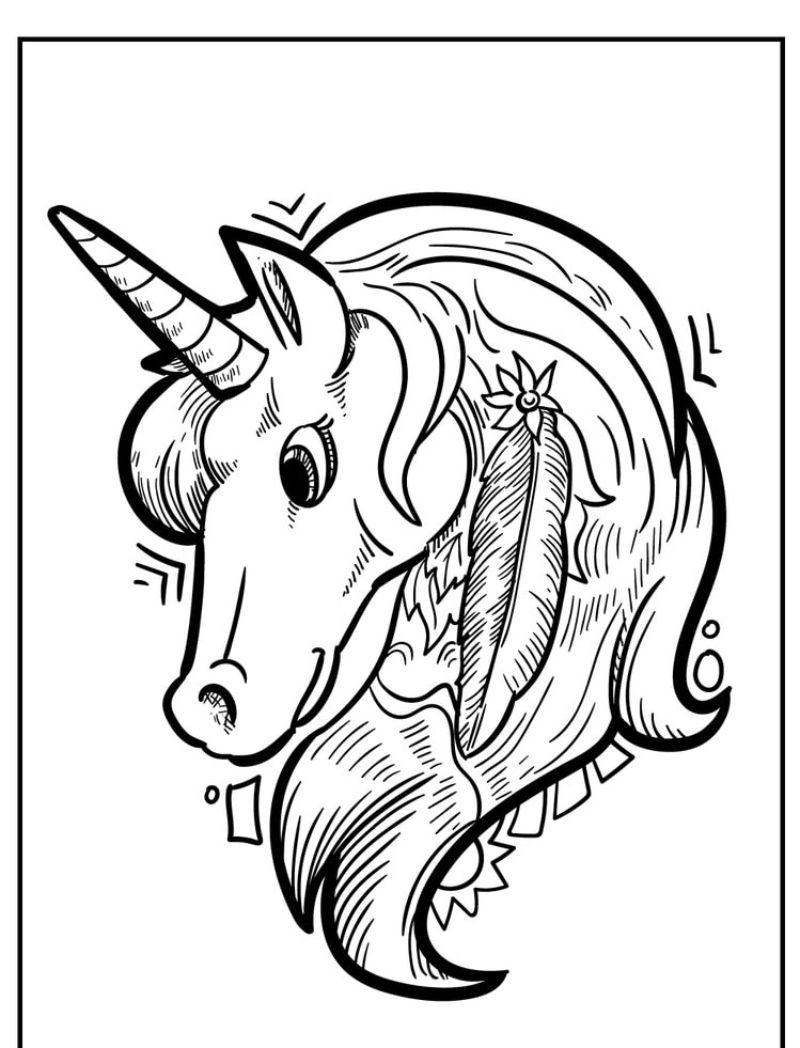 unicorn coloring sheets with large mane