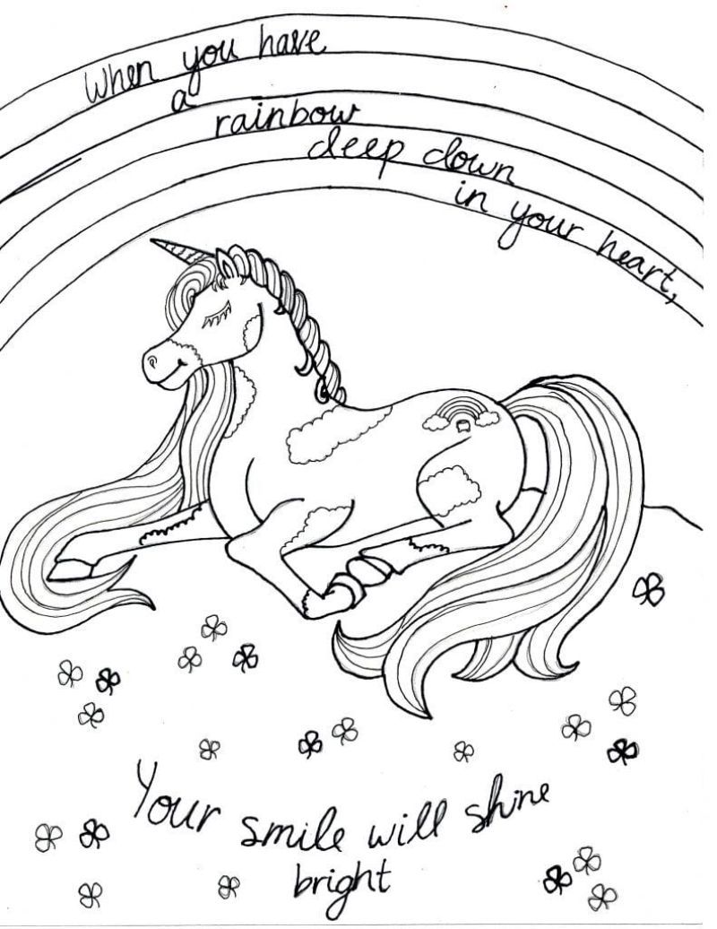 unicorn with large mane cute unicorn coloring pages