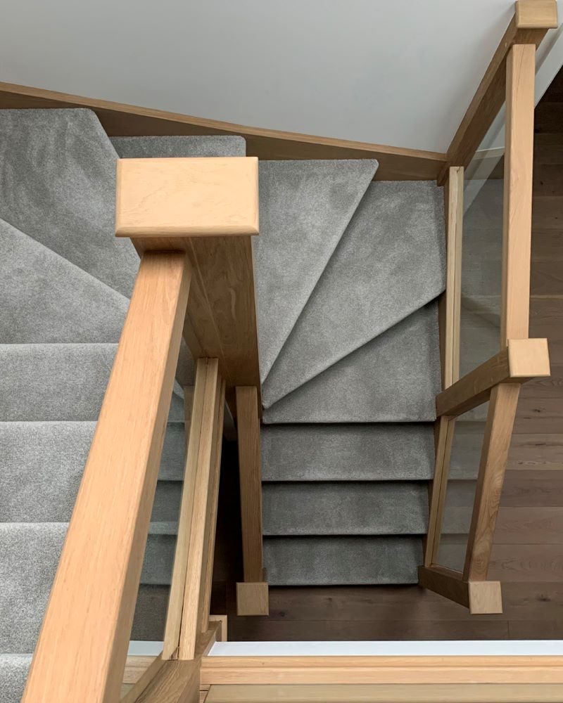 winder staircase types of stairs gray carpet