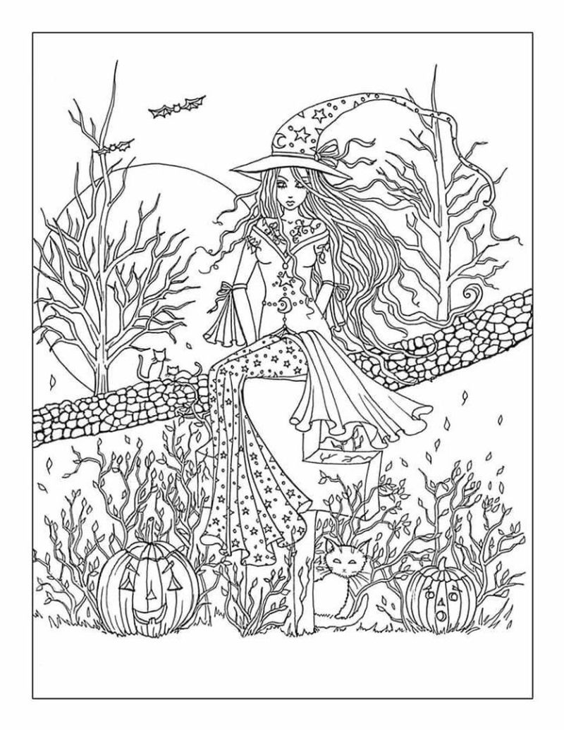 witch free halloween coloring pages pumpkin patch