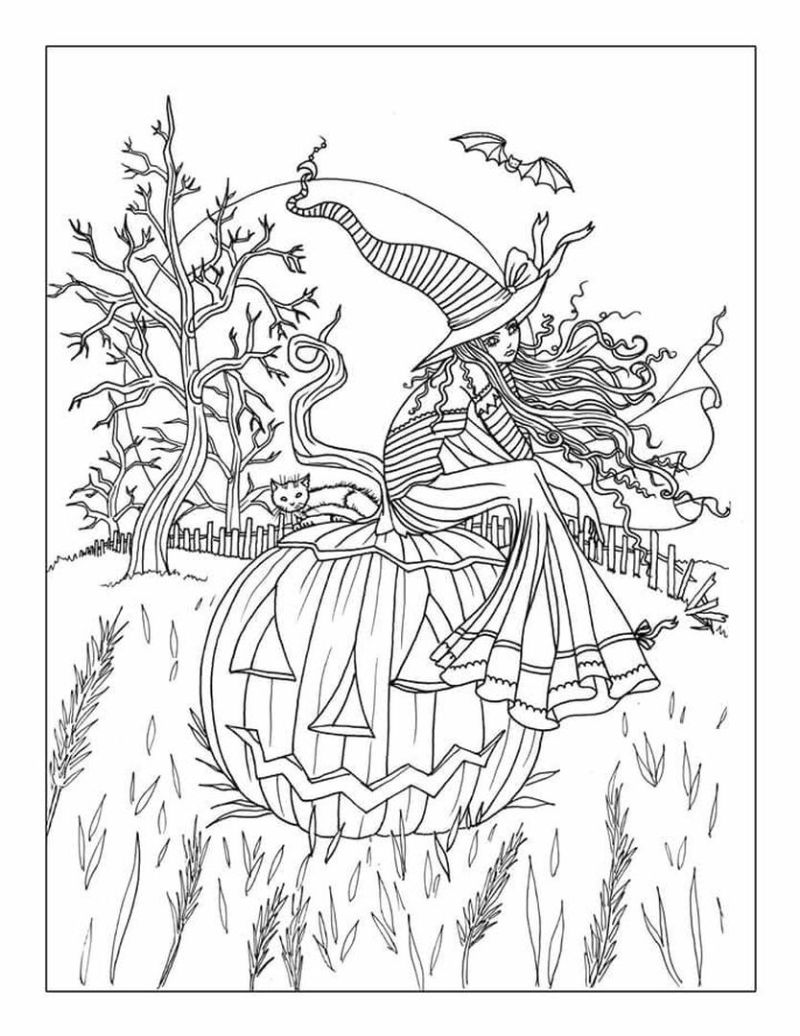 witch sitting on pumpkin printable halloween coloring pages